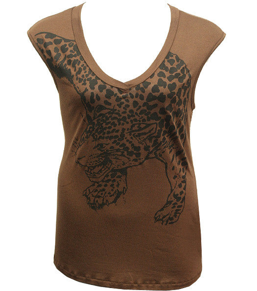 Plus Size Sexy Leopard Brown Shirt