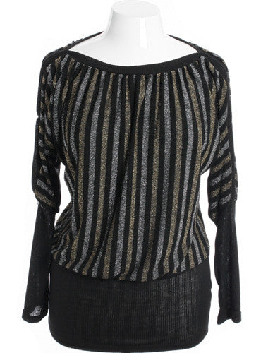 Plus Size Sparkling Stripe Open Sleeve Black Sweater