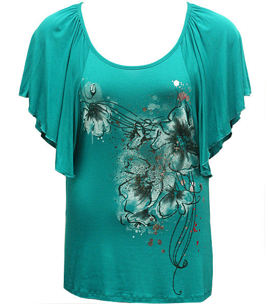 Plus Size Loose Flutter Sleeve Teal Top