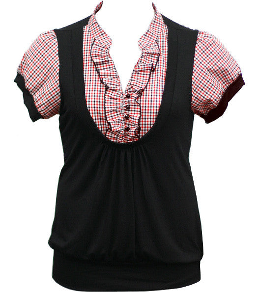 Plus Size Cute Plaid Layered Red Blouse