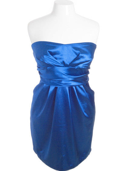 Plus Size Diva Satin Sexy Royal Blue Tube Dress