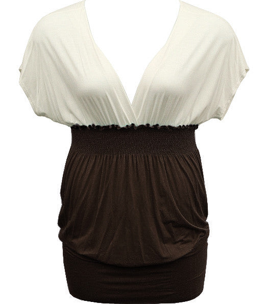 Plus Size Beautiful Two Tone Diva Brown Top