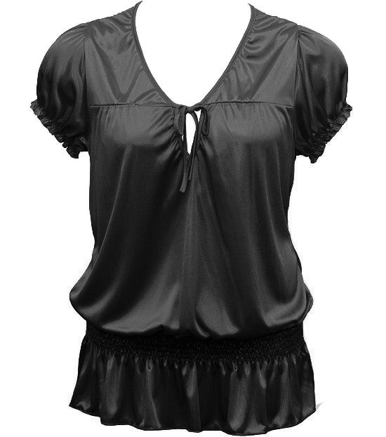 Silky Sexy Bubble Loose Black Top
