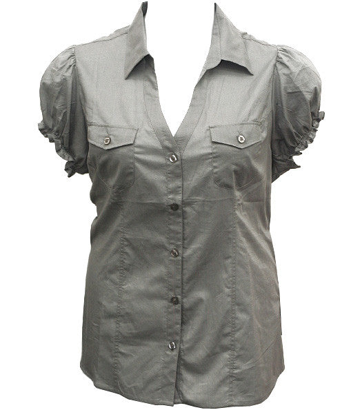 Cute Casual Scrunch Sleeve Button Up