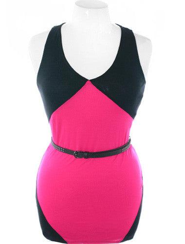Plus Size Trendy Pink Studed Belt Tank
