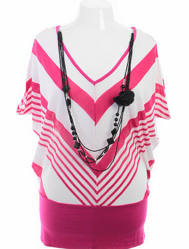 Plus Size Sexy Stipe V-Neck Tank Pink Top