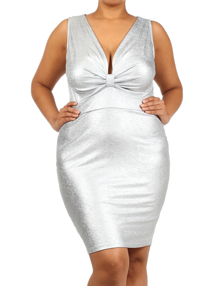 Plus Size Out Shine Bow Neckline Silver Dress