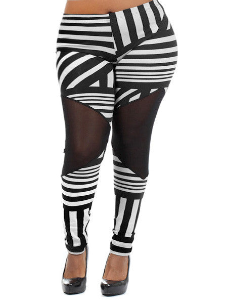 Plus Size Mesh Panel Black White Leggings