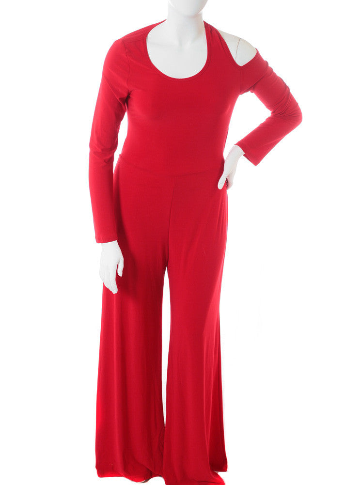 Plus Size Open Back Red Jumpsuit