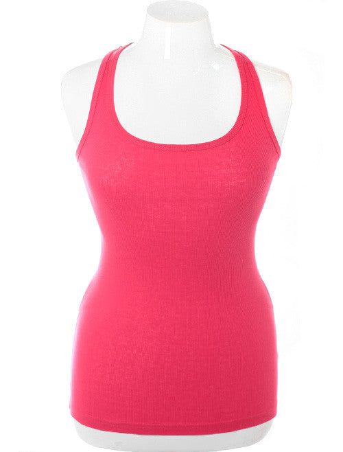 Plus Size Sexy Lace Back Pink Tank Top
