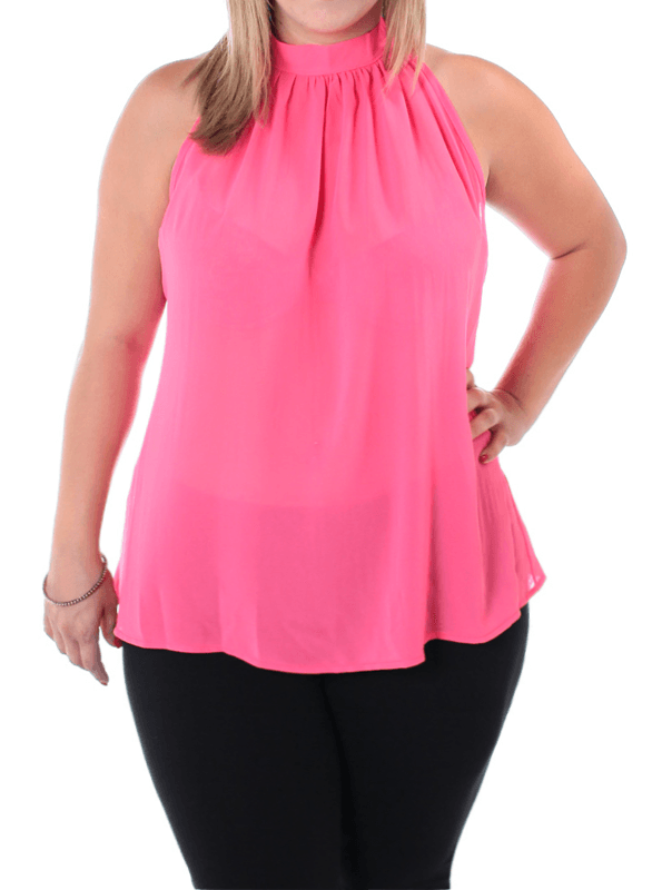 Plus Size Butterfly Back Sheer Pink Top