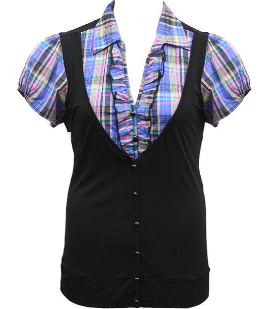 Plus Size Layered Ruffle Plaid Blue Blouse