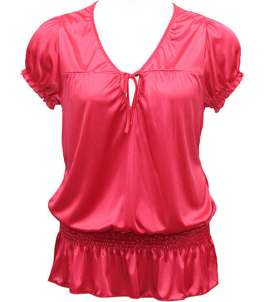 Plus Size Silky Sexy Bubble Loose Pink Top