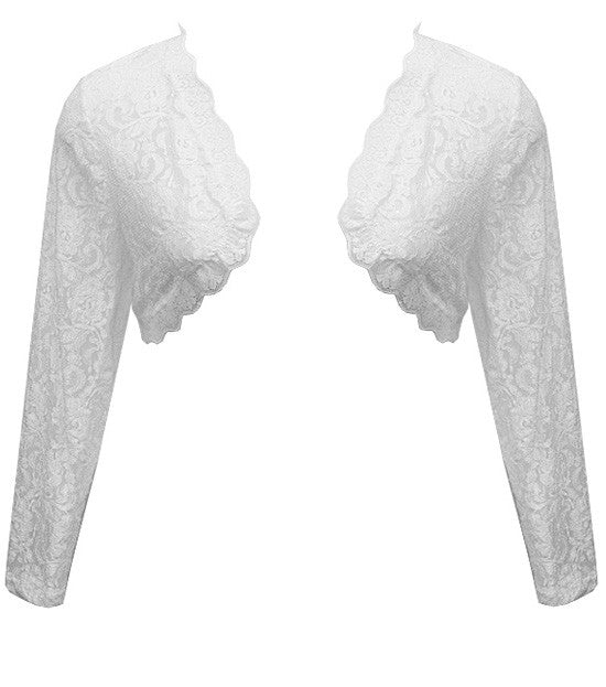 See Through Lace White Shrug Top