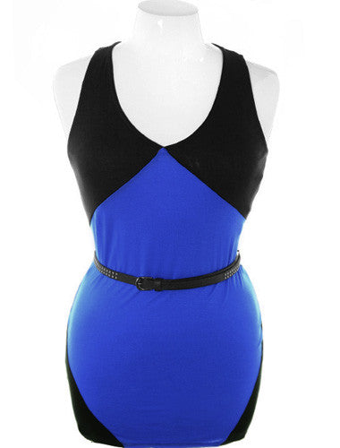Plus Size Trendy Blue Studed Belt Tank