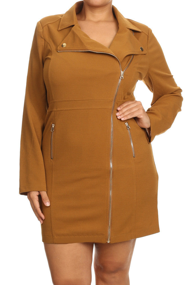 City Gal Plus Size Zippered Plus Size Midi Coat