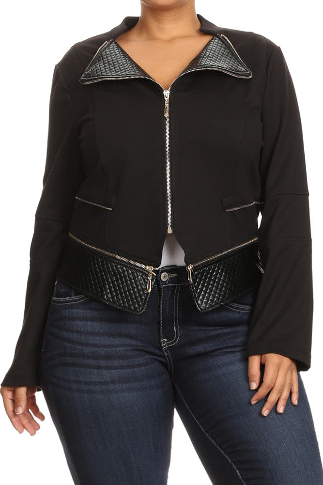 Gilded Zippered Rider Plus Size Leather Jacket