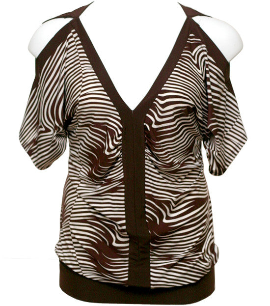 Zebra Open Shoulder Brown Top