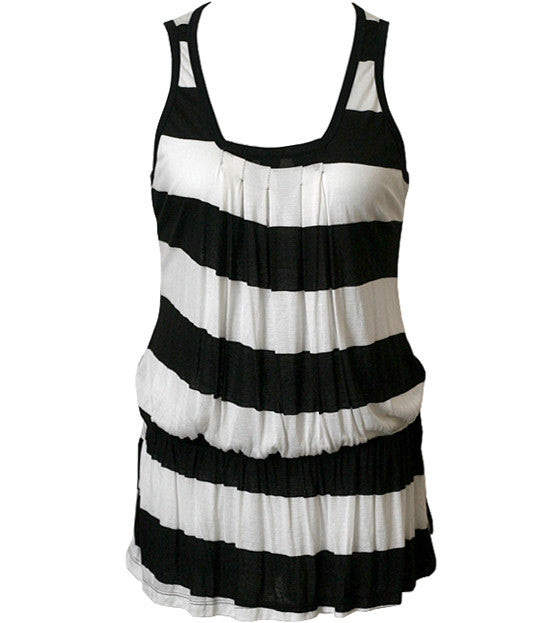 Trendy Loose Stripe Long Tank Top
