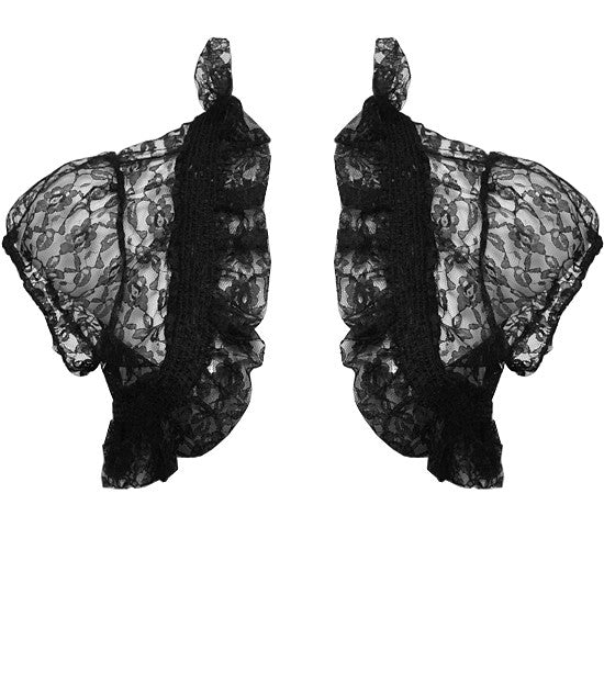 Plus Size Ruffled See Through Black Bolero