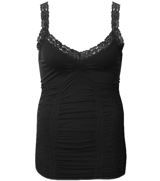 Plus Size Lace Stretchy Black Tank Top