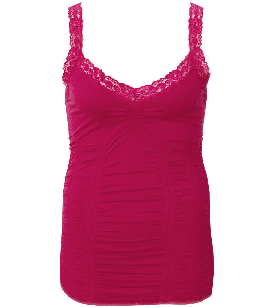 Plus Size Lace Stretchy  Pink Tank Top