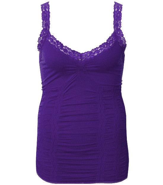 Plus Size Lace Stretchy  Purple Tank Top