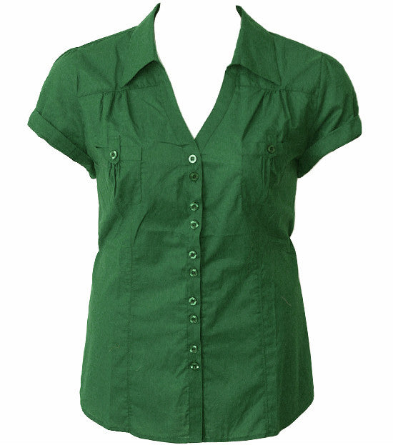 Cotton Roll Up Sleeve Green Blouse