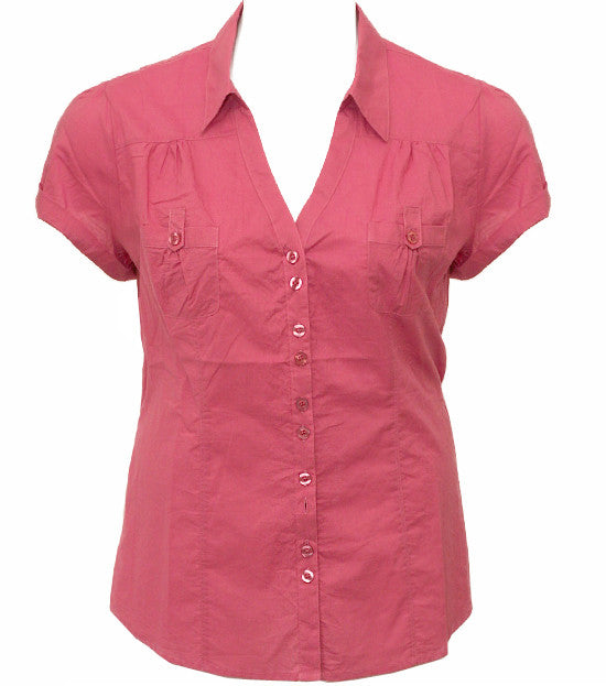 Plus Size Cotton Roll Up Sleeve Light Pink Blouse