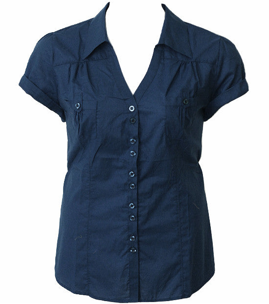Plus Size Cotton Roll Up Sleeve Navy Blouse
