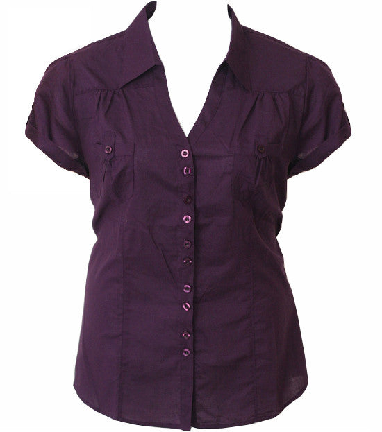 Cotton Roll Up Sleeve Purple Blouse