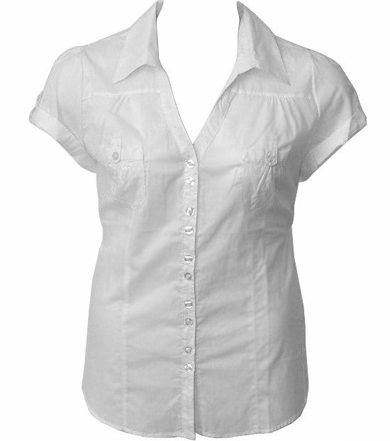 Cotton Roll Up Sleeve White Blouse