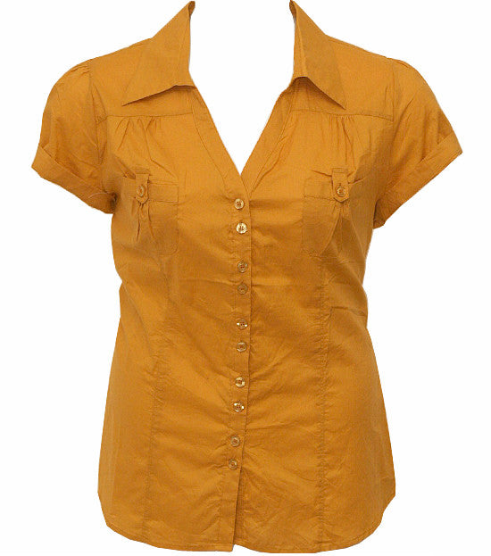 Plus Size Cotton Roll Up Sleeve Yellow Blouse