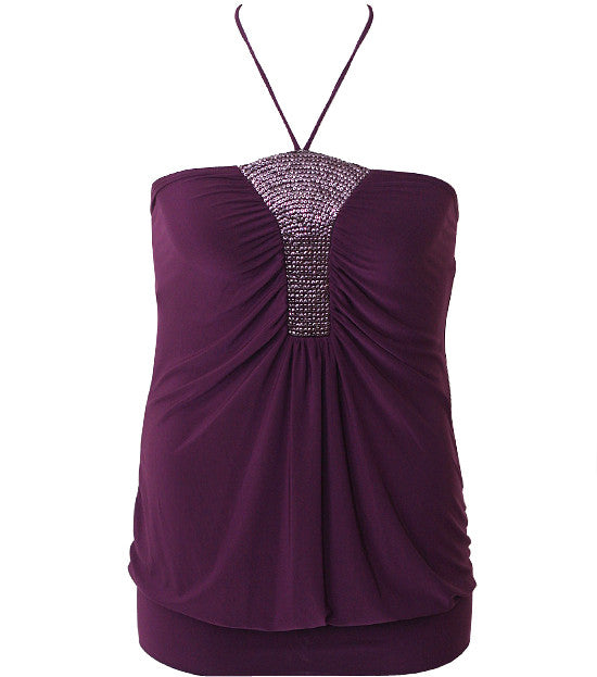 Plus Size Dazzling Halter String  Purple Top