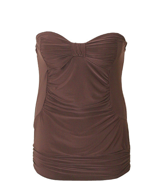 Plus Size Sexy Unique Diva Brown Tube Top