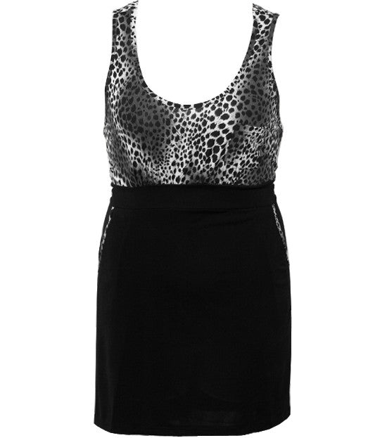 Plus Size Leopard Side Pockets Black Tank
