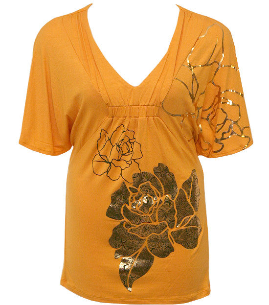 Plus Size Trendy Kimono Floral Yellow Top