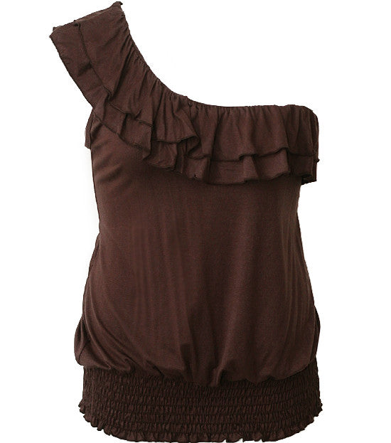 Sexy Single Shoulder Ruffle Brown Top