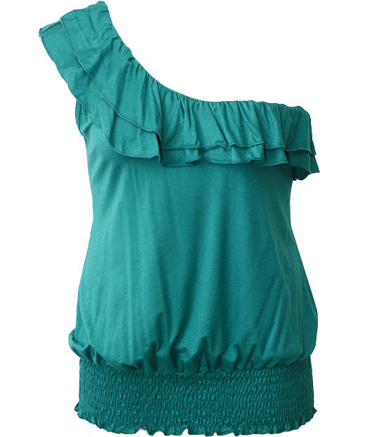 Plus Size Sexy Single Shoulder Ruffle Teal Top