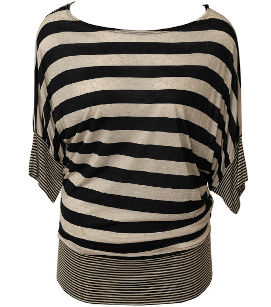 Plus Size Loose Sexy Stripe Black Top