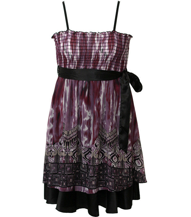 Layered Ribon Belt Purple Dress