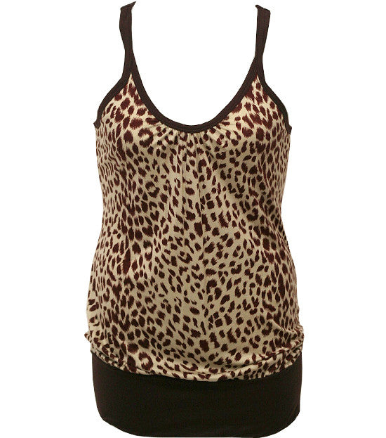 Plus Size Trendy Leopard Brown Tank Top