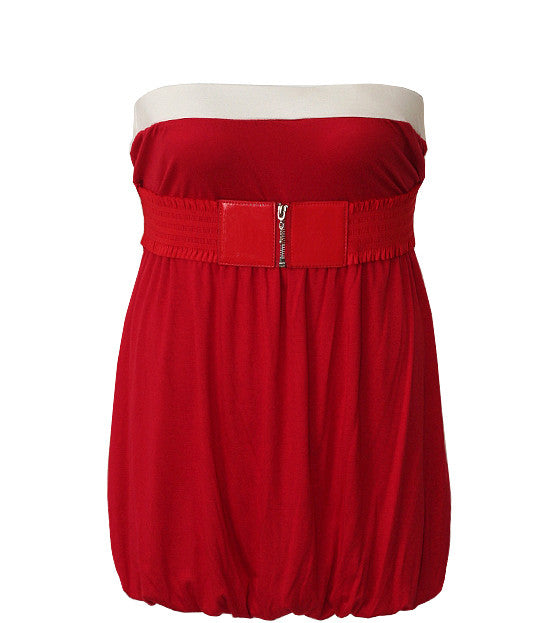 Plus Size Zipper Belt  Bubble Red Tube Top