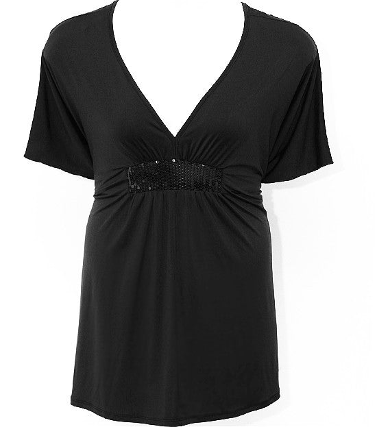Plus Size Sparkling Silky Black Wrap Top