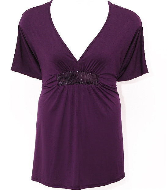 Plus Size Sparkling Silky Purple Wrap Top