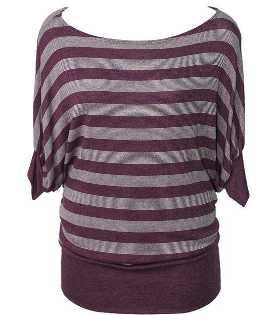 Plus Size Trendy Loose Stripe Purple Top