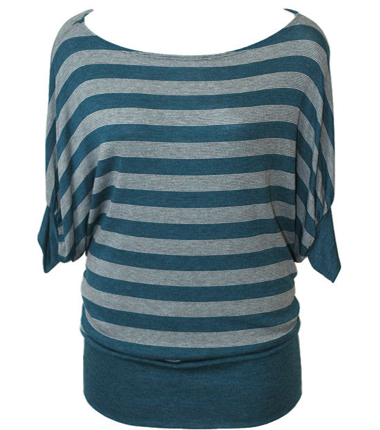 Plus Size Trendy Loose Stripe Teal Top