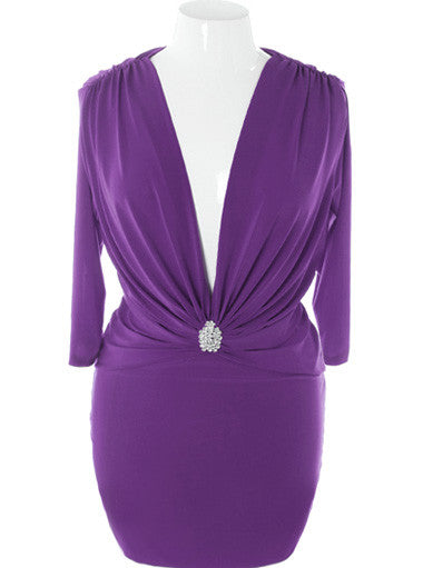 Plus Size Elegant French Diamond Purple Dress