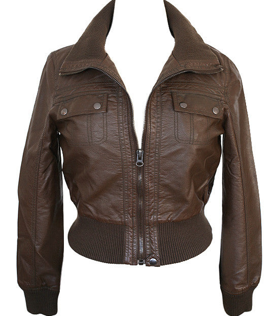 Plus Size Sexy Diva Bomber Brown Jacket