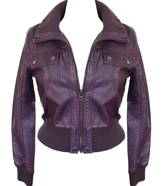 Plus Size Sexy Diva Bomber Purple Jacket